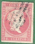 Stamps Spain -  Isabel II, Edifil 48 B