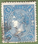 Stamps Europe - Spain -  Isabel II, Edifil 75 A