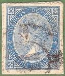 Stamps Spain -  Isabel II, Edifil 88