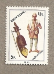 Stamps Asia - Nepal -  Violín