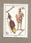 Stamps Nepal -  Violín