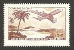 Sellos de America - Chile -  375 - Vuelo regular Santiago-Isla de Pascua-Tahití