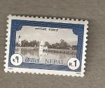 Sellos del Mundo : Asia : Nepal : Templo en lago