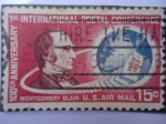 Stamps : America : United_States :  100th Anniversary - 1st International Postal Conference. Paris 1863