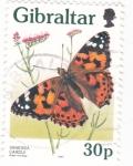 Stamps Gibraltar -  MARIPOSA VANESSA CARDUI