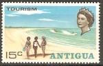 Sellos de America - Antigua y Barbuda -  TRES  CHICAS  EN  LA  PLAYA,  ESQUIADOR  Y  EL  MAR
