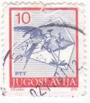 Stamps Yugoslavia -  Ave-flor y sobre