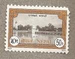 Stamps Nepal -  Palacio en lago