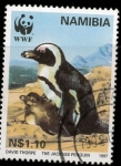 Stamps Africa - Namibia -  pingüino con cria