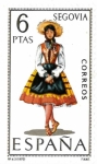 Stamps Spain -  trajes regionales - Segovia