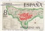 Stamps Spain -  Plano de la Plaza de San Juan de Puerto Rico -HISPANIDAD -1972  (W)