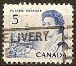 Sellos del Mundo : America : Canadá : La Reina Isabel II y puerto pesquero en la costa atlántica.
