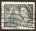 Sellos del Mundo : America : Canadá : La reina Isabel II y la Biblioteca del Parlamento.