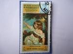 Stamps Yemen -  País:Aden- Oleo:Master Hare (1789) Museo de Louvre-Paris, de Joshue Teynolds.