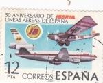 Stamps Spain -  50 Aniversario de Líneas Aéreas de España   <(W)
