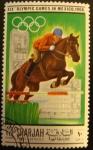 Sellos del Mundo : Asia : Emiratos_Árabes_Unidos : Sharjah & Dependencies; Olimpiadas México 1968. Equestrian rider and horse