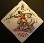 Sellos del Mundo : Asia : Emiratos_Árabes_Unidos : Umm-al-Qiwain. Olimpiadas Mexico 1968. Lanzamiento jabalina