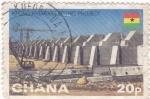 Sellos de Africa - Ghana -  Construcción de una presa <Hidroeléctrica