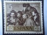 Stamps Spain -  Ed:1238-Pintores:Diego Velázquez-Día del Sello- ¨Los Borrachos¨