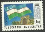 Stamps Asia - Uzbekistan -  Bandera de Uzbekistán