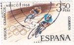 Stamps Spain -  Juegos Olímpicos de México -Ciclismo   (X)