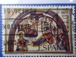 Stamps Spain -  Ed:2115- La Navidad 1972- ¨Pintura en la Basilica de San Isidro-León¨