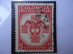 Stamps of the world : Colombia :  Cruz Roja Nacional y Escudo de Colombia.