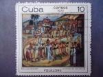 Stamps Cuba -  Pintore:Domingo Ravanet- Oleo:¨La Conga de los Hoyos¨