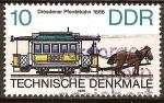 Sellos del Mundo : Europa : Alemania :  Monumentos técnicos-Dresde tranvía en 1886,DDR.