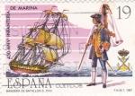 Stamps Spain -  450 Aniversario Infantería de Marina  (Y)