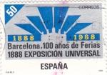 Stamps Spain -  Barcelona 100 años de Ferias 1888-1998 EXPOSICION UNIVERSAL   (Y)
