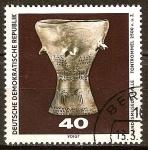 Sellos de Europa - Alemania -  Descubrimientos arqueológicos.Arcilla tambor (2500 aC)DDR.