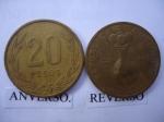 monedas de America - Colombia -  20 pesos- poporo Quinbaya museo del oro.