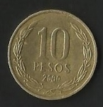 monedas de America - Chile -  MONEDA DE CHILE DIEZ PESOS - FRONTAL