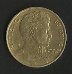 monedas de America - Chile -  MONEDA DE CHILE DIEZ PESOS - BERNARDO OHIGGINS - POSTERIOR