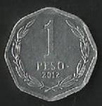 monedas de America - Chile -  MONEDA DE CHILE UN PESO - FRONTAL