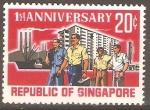 Stamps Singapore -  PRIMER  ANIVERSARIO  DE  LA  REPÙBLICA