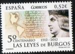 Stamps Spain -  4780- 5º Centenario de las Leyes de Burgos. 1512-2012.