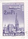 Sellos de Europa - Hungría -  Avión sobrevolando Viena