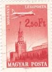 sello : Europa : Hungría : Avión sobrevolando Moscú