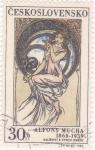 Sellos de Europa - Checoslovaquia -  Alfons Mucha 1860-1939 Pintor
