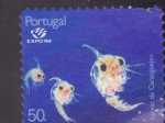 Sellos de Europa - Portugal -  Larva de Cangrejos   -Expo-98