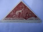 Stamps Africa - Chad -  Kudu - Arte Rupestre en las montañas del Tibesti. Kudu Período de Cazadores