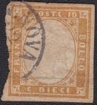 Sellos del Mundo : Europa : Italia : King Victor Emmmanuel II 1853 Scott 11h