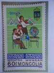 Sellos de Asia - Mongolia -  Pioneros estudiando y Volando medelo de Avión