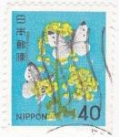 Sellos de Asia - Japón -  Flores y mariposas