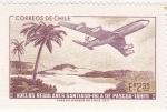 Stamps Chile -  Vuelos regulares Santiago-Isla de Pascua- Tahití