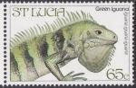 Sellos del Mundo : America : Santa_Lucia : Iguana verde