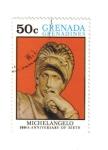 Stamps Grenada -  Miguel Ángel. 500 Aniversario de su Nacimiento