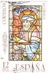 Sellos de Europa - España -  Vidriera de la Catedral de Toledo- personaje religioso  (4)